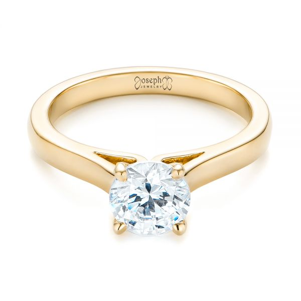 14k Yellow Gold 14k Yellow Gold Diamond Solitaire Engagement Ring - Flat View -
