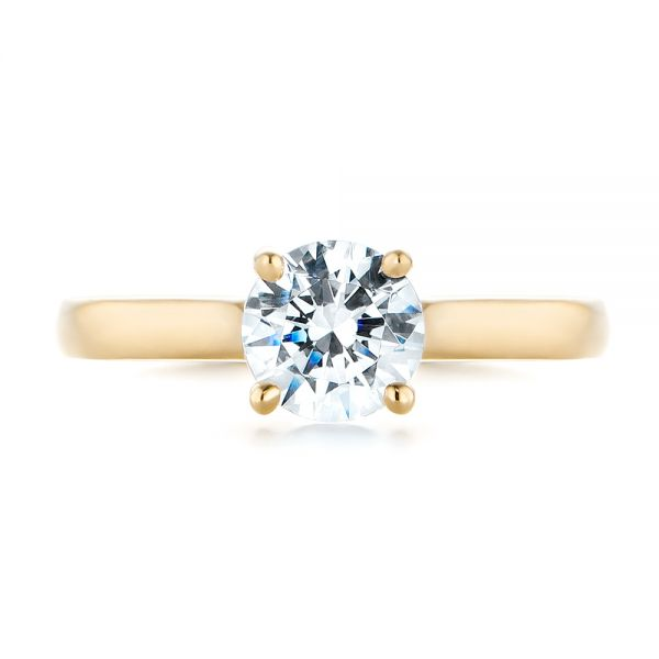14k Yellow Gold 14k Yellow Gold Diamond Solitaire Engagement Ring - Top View -