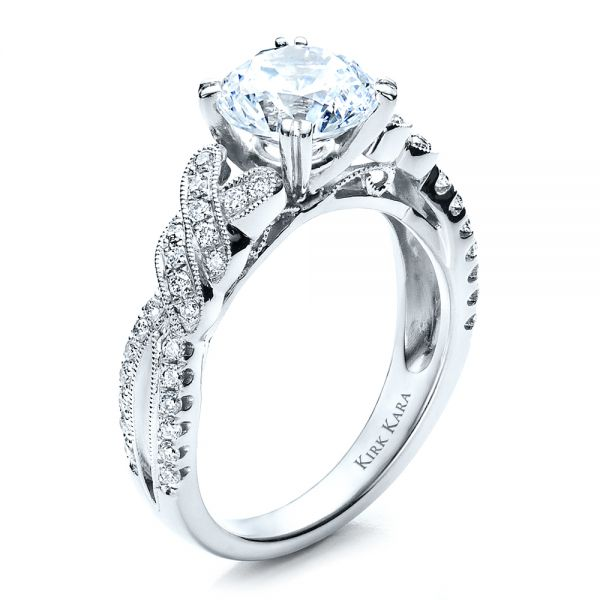 Diamond Split Shank Engagement Ring - Kirk Kara - Three-Quarter View -  1455