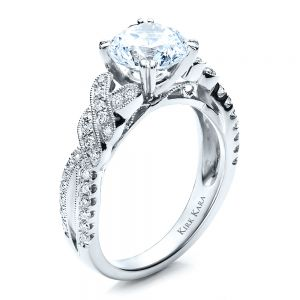 Diamond Split Shank Engagement Ring - Kirk Kara - Image