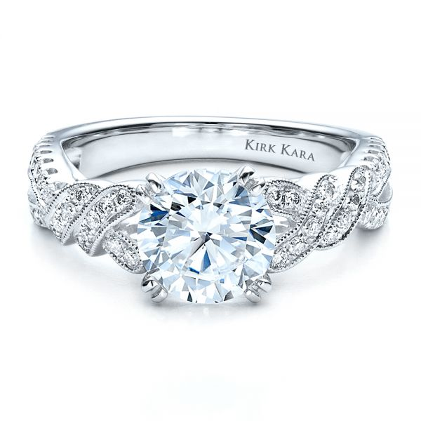 Diamond Split Shank Engagement Ring - Kirk Kara - Flat View -  1455