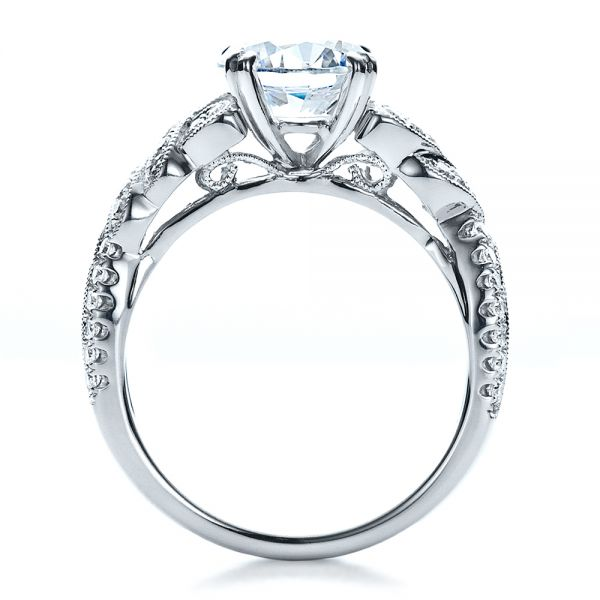 Diamond Split Shank Engagement Ring - Kirk Kara - Front View -  1455