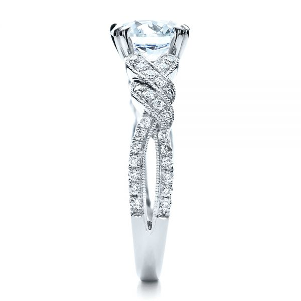 Diamond Split Shank Engagement Ring - Kirk Kara - Side View -  1455