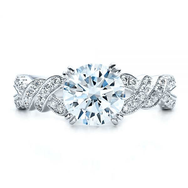 Diamond Split Shank Engagement Ring - Kirk Kara - Top View -  1455