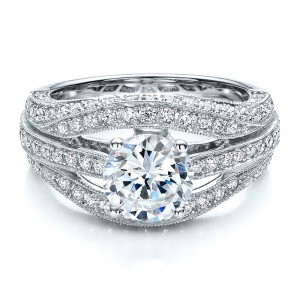 Diamond Split Shank Engagement Ring - Vanna K