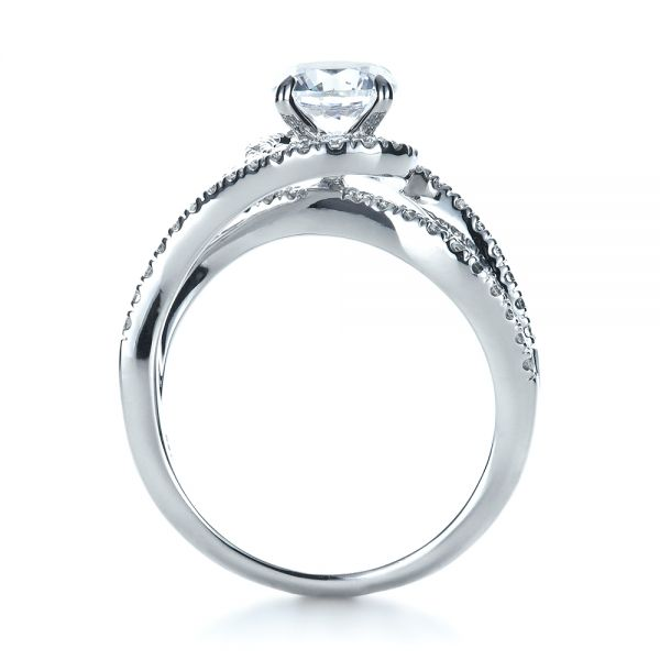 Diamond Split Shank Engagement Ring - Front View -  1260 - Thumbnail