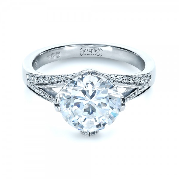 Diamond Split Shank Engagement Ring - Laying View
