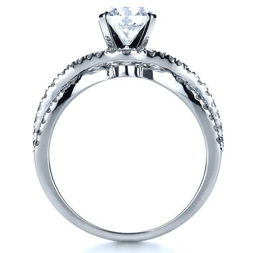 Diamond Split Shank Engagement Ring - Finger Through View