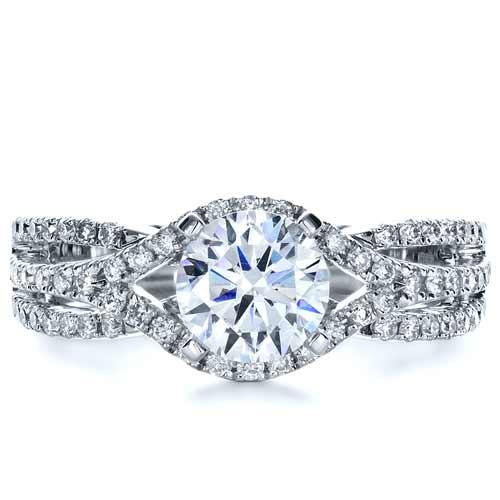 Diamond Split Shank Engagement Ring - Top View
