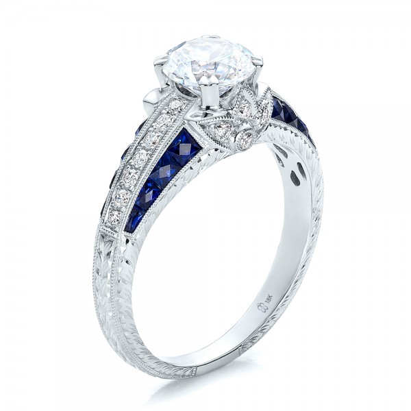 diamond and blue sapphire engagement ring 100390 With blue sapphire and diamond wedding rings