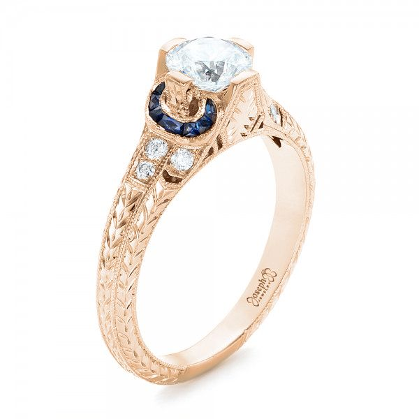 14K Rose Gold Diamond and Blue Sapphire Engagement Ring - Three-Quarter View -  102677 - Thumbnail