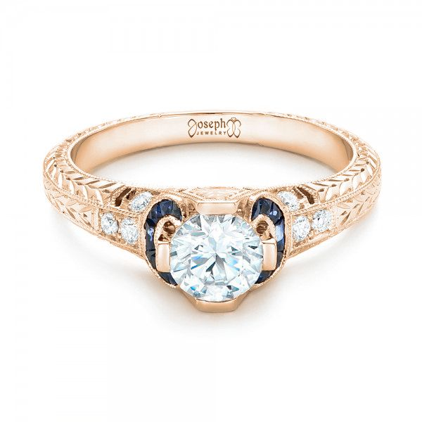 14K Rose Gold Diamond and Blue Sapphire Engagement Ring - Flat View -  102677 - Thumbnail