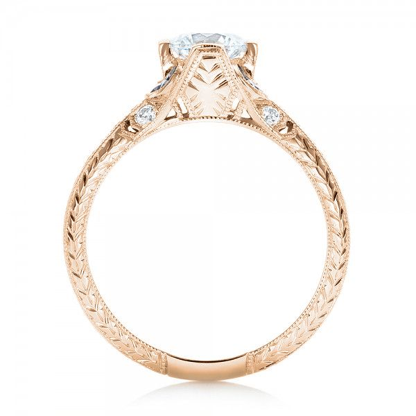 14K Rose Gold Diamond and Blue Sapphire Engagement Ring - Front View -  102677 - Thumbnail