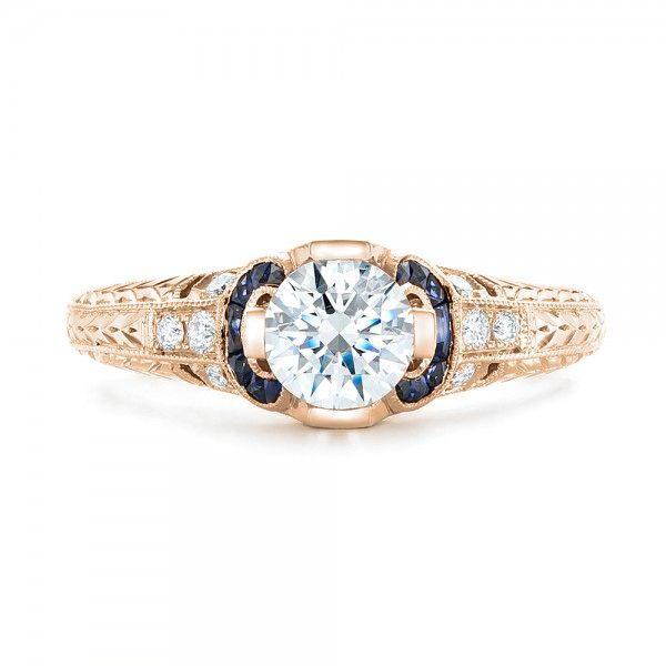 14K Rose Gold Diamond and Blue Sapphire Engagement Ring - Top View -  102677 - Thumbnail