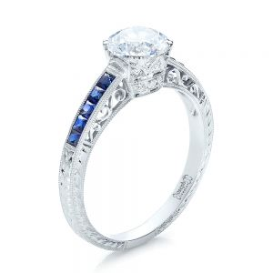 Diamond and Blue Sapphire Engagement Ring - Image