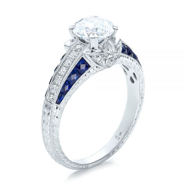 Diamond and Blue Sapphire Engagement Ring - Three-Quarter View -  100390 - Thumbnail
