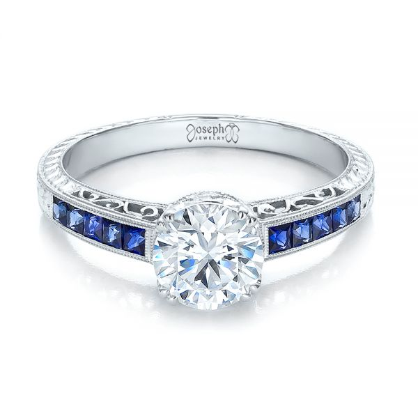 Diamond and Blue Sapphire Engagement Ring - Flat View -  100389 - Thumbnail