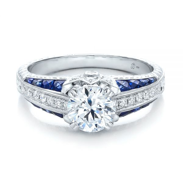 Diamond and Blue Sapphire Engagement Ring - Flat View -  100390 - Thumbnail
