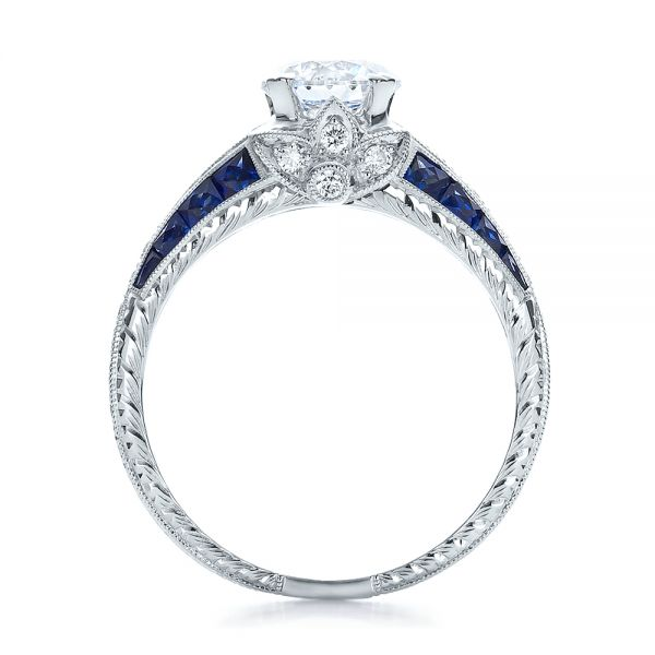 Diamond and Blue Sapphire Engagement Ring - Front View -  100390 - Thumbnail
