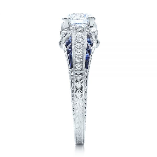 Diamond and Blue Sapphire Engagement Ring - Side View -  100390 - Thumbnail