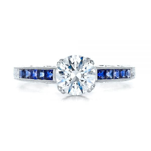 Diamond and Blue Sapphire Engagement Ring - Top View -  100389 - Thumbnail
