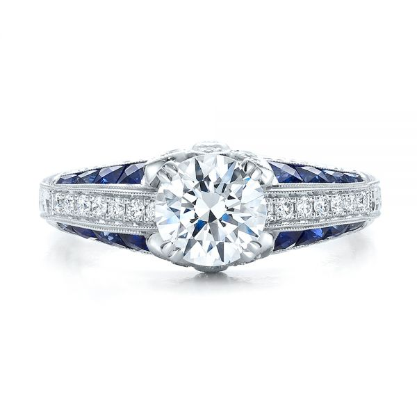 Diamond and Blue Sapphire Engagement Ring - Top View -  100390 - Thumbnail