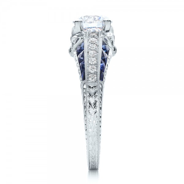Diamond and Blue Sapphire Engagement Ring - Side View
