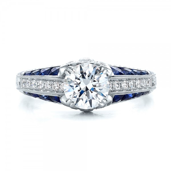 Diamond and Blue Sapphire Engagement Ring - Top View