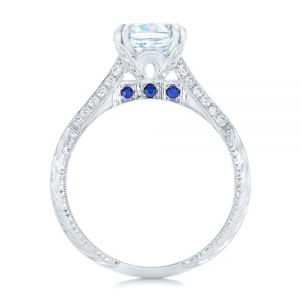 Diamond and Blue Sapphire Knife Edge Engagement Ring - Front View -  102116 - Thumbnail