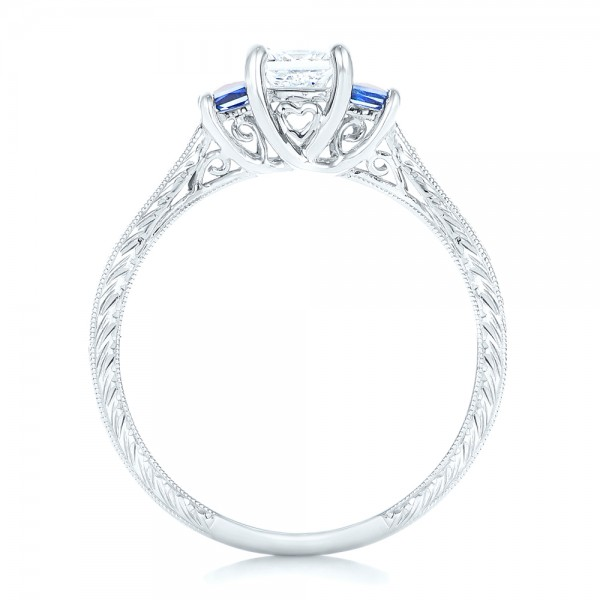 Three Stone Blue Sapphire and Diamond Engagement Ring - Finger Through View