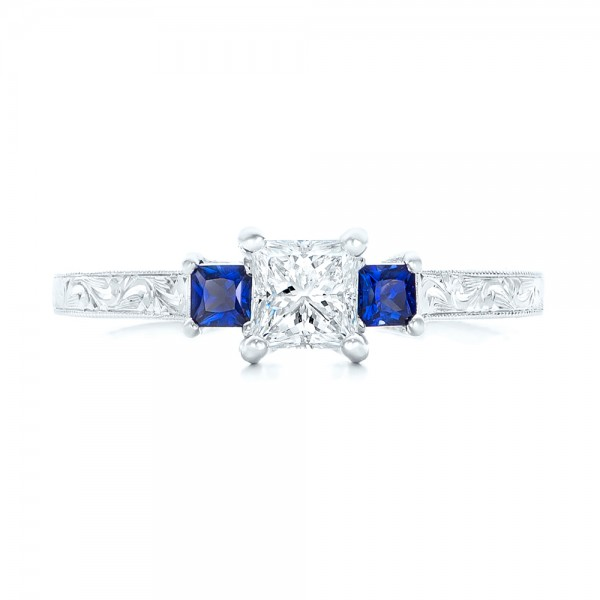 Three Stone Blue Sapphire and Diamond Engagement Ring - Top View