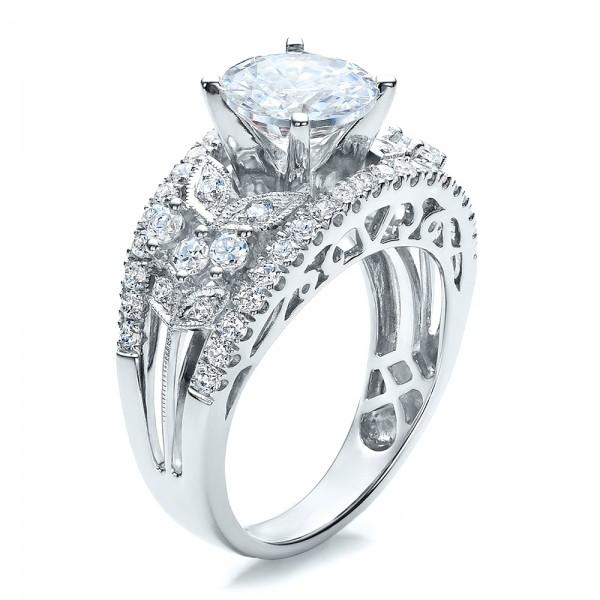 Diamond and Filigree Engagement Ring - Vanna K
