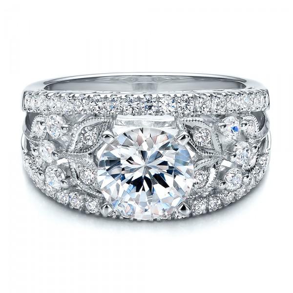 Diamond and Filigree Engagement Ring - Vanna K - Laying View