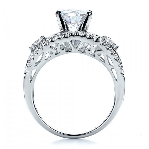 Diamond and Filigree Engagement Ring - Vanna K - Finger Through View