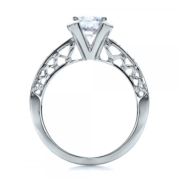 Diamond and Filigree Engagement Ring - Vanna K - Finger Through View