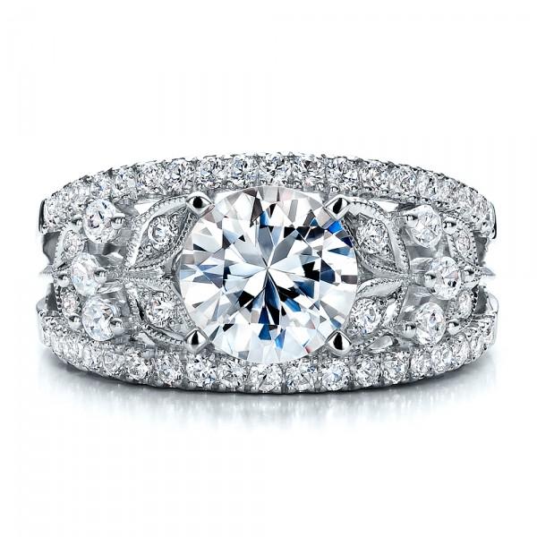 Diamond and Filigree Engagement Ring - Vanna K - Top View