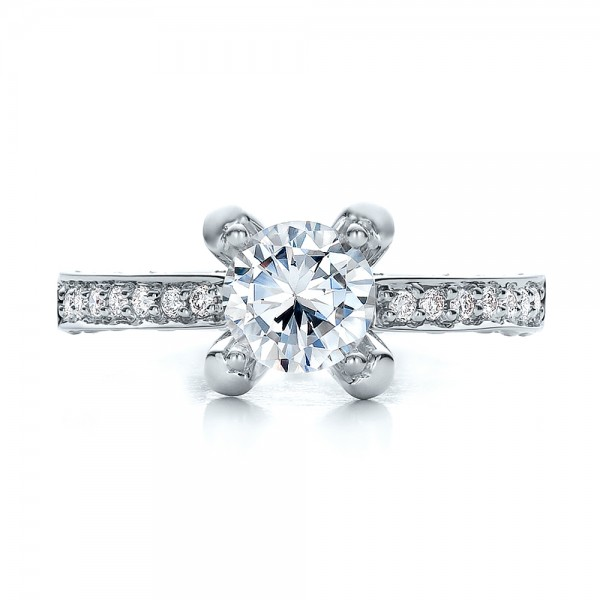 Diamond and Filigree Engagement Ring - Vanna K - Top View