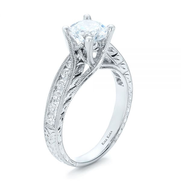 Diamond and Hand Engraved Engagement Ring with Matching Wedding Band - Kirk Kara - Image