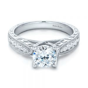 Diamond and Hand Engraved Engagement Ring with Matching Wedding Band - Kirk Kara