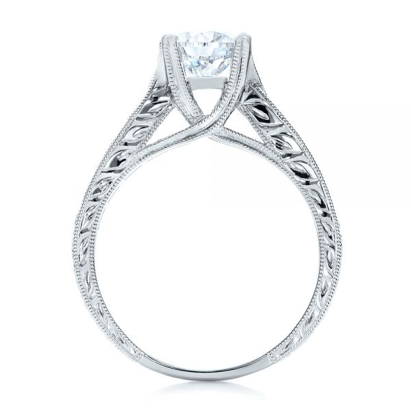 Diamond And Hand Engraved Engagement Ring With Matching Wedding Band - Kirk Kara - Front View -  1274