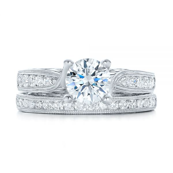 Diamond And Hand Engraved Engagement Ring With Matching Wedding Band - Kirk Kara - Side View -  1274