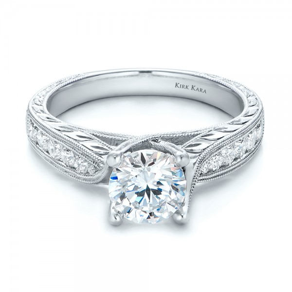 Diamond and Hand Engraved Engagement Ring with Matching Wedding Band