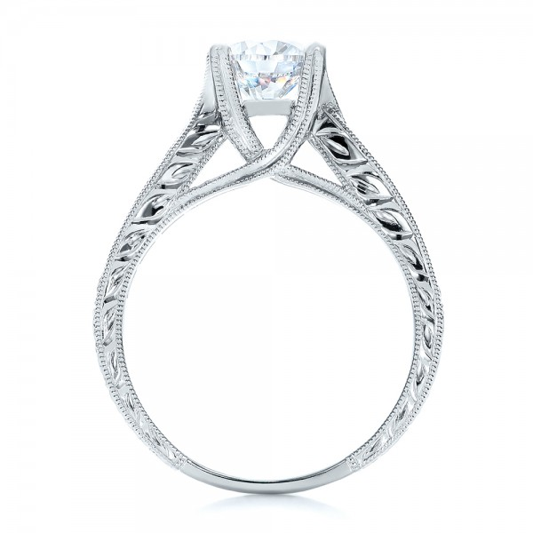 Diamond and Hand Engraved Engagement Ring with Matching Wedding Band - Kirk Kara - Finger Through View