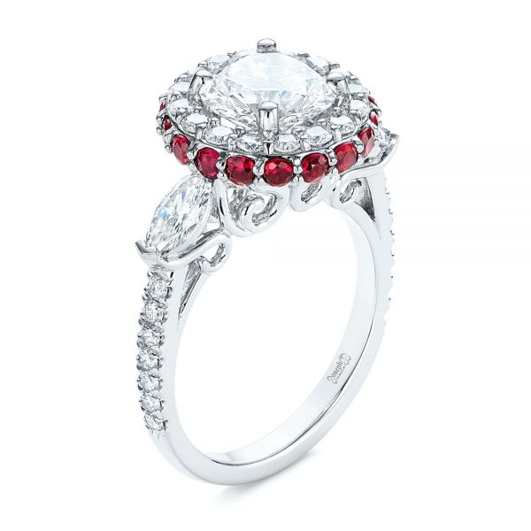Diamond and Ruby Halo Engagement Ring - Three-Quarter View -  105160 - Thumbnail