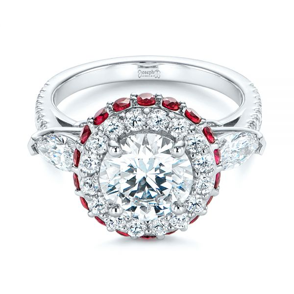 Diamond and Ruby Halo Engagement Ring - Flat View -  105160 - Thumbnail