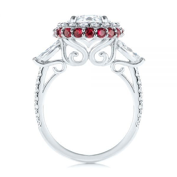 Diamond and Ruby Halo Engagement Ring - Front View -  105160 - Thumbnail