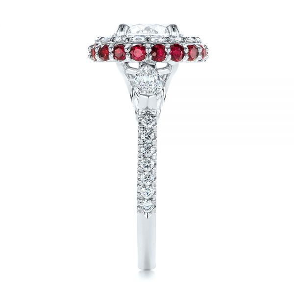 Diamond and Ruby Halo Engagement Ring - Side View -  105160 - Thumbnail
