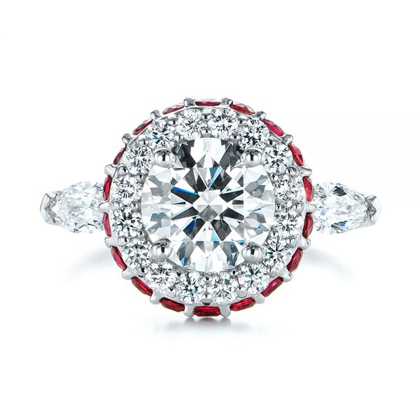 Diamond and Ruby Halo Engagement Ring - Top View -  105160 - Thumbnail