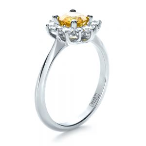 Diamond and Yellow Sapphire Engagement Ring - Image