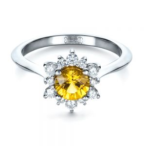 Diamond and Yellow Sapphire Engagement Ring